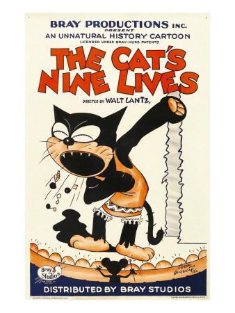 The Cat's Nine Lives, Cartoon Animation Poster Art, 1926