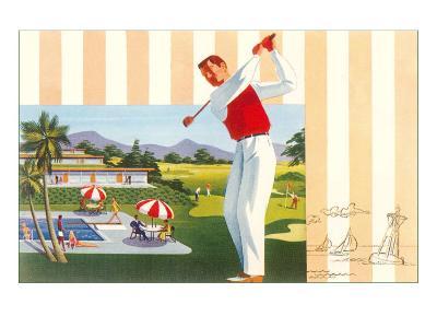 Golfing at Resort, Illustration