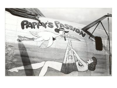 Nose Art, Pappy's Passion Pin-Up with Stork