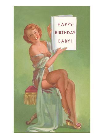 Happy Birthday Baby, Pin-Up Holding Book