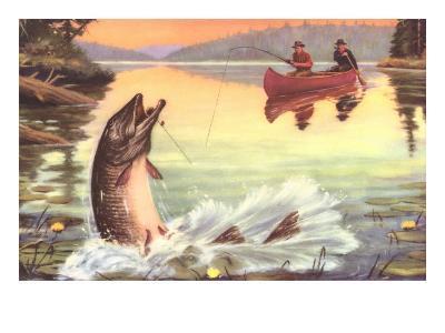 Men in Canoe Hooking Large Fish