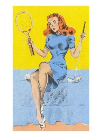 Buxom Redhead with Tennis Racket and Putter
