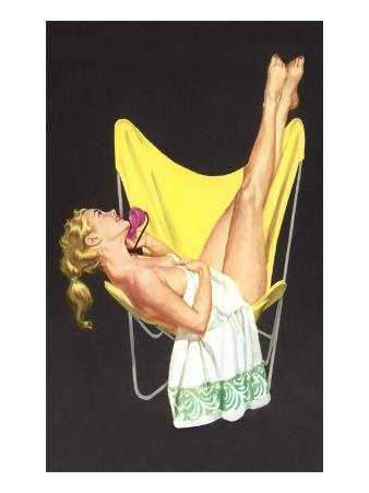 Lady on Telephone with Legs Up on Chair Back