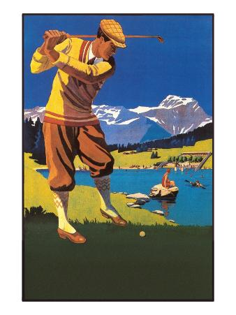 Golfer in Plus-Fours in Mountains