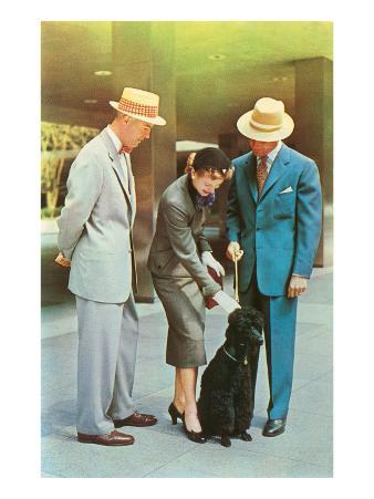Two Men, Woman with Poodle, Fifties
