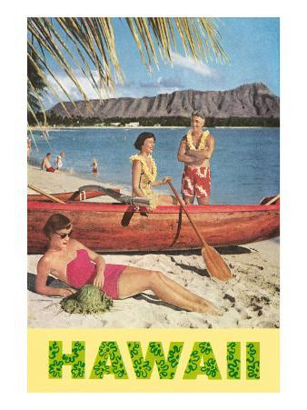 Hawaii, Beach Scene with Outrigger