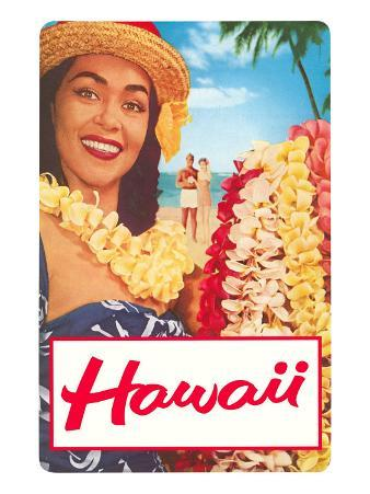 Hawaii, Woman with Frangipani Leis
