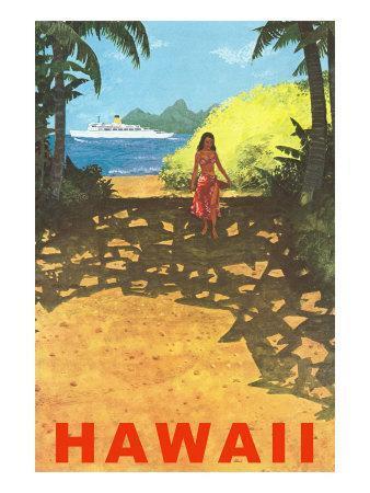 Hawaii, Cruise Liner, Girl on Beach Path