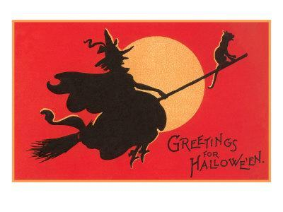 Greetings for Halloween, Witch on Broomstick