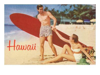 Hawaii, Tourists with Surfboard
