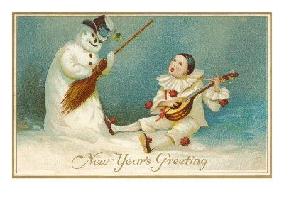 Happy New Year, Clown and Snowman