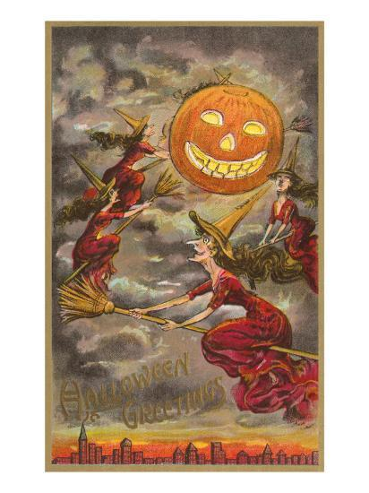halloween greetings witches and jack o lantern poster at allposters com