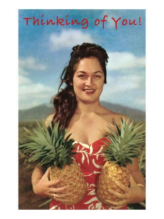 Thinking of You, Hawaiian Woman with Two Pineapples