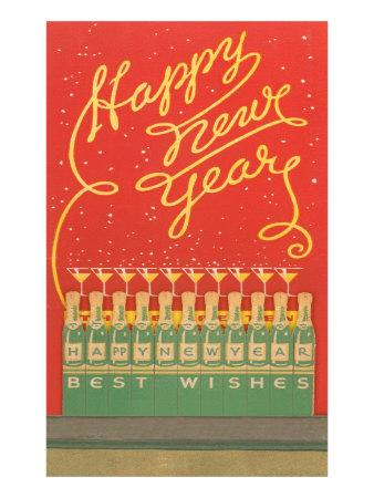Happy New Year, Stylized Bottles and Glasses