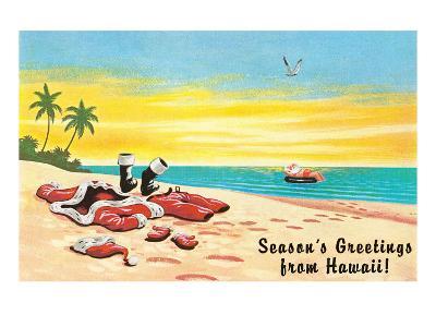 Season's Greetings from Hawaii, Santa's Clothes on Beach