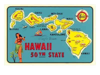 Map Of Hawaiian Islands Posters At Allposters Com