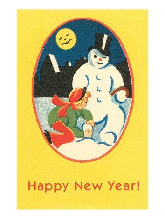Child, Snowman, Smiling Moon