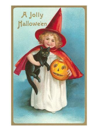 A Jolly Halloween, Little Girl Witch with Cat and Jack O'Lantern
