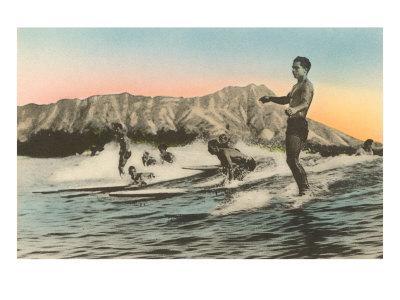Surfing in Hawaii by Diamond Head