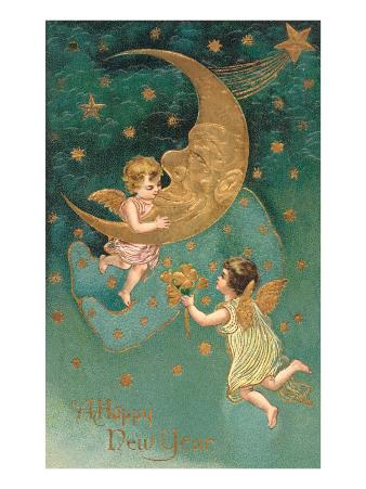 Happy New Year, Cherubs at Moon