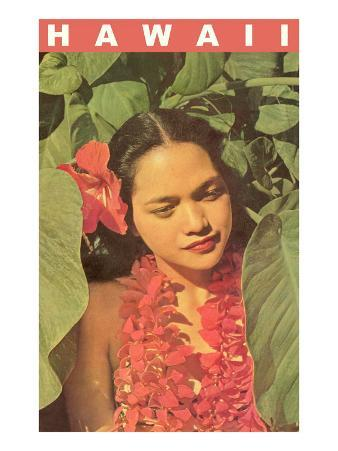 Hawaii, Lady in Taro Leaves with Lei