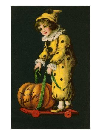 Halloween, Little Clown and Pumpkin