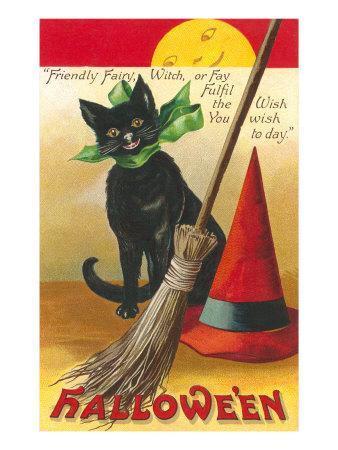 Halloween, Cat and Broom