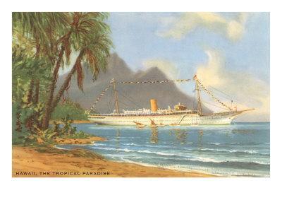Hawaiian Beach with Cruise Ship