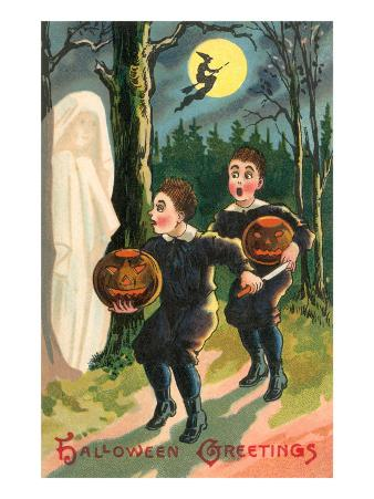 Halloween Greetings, Children with Ghost