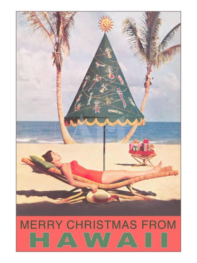 Merry Christmas from Hawaii, Conical Umbrella on Beach Photo at ...