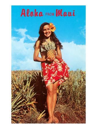 Aloha from Maui, Girl in Field with Pineapple