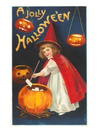 Halloween, Little Witch with Pumpkin Cauldron