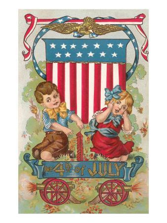 Fourth of July, Children with Firecrackers