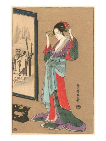 Geisha Fixing Hairdo