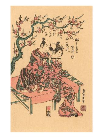 Japanese Woodblock, Man with Flute-Playing Geisha