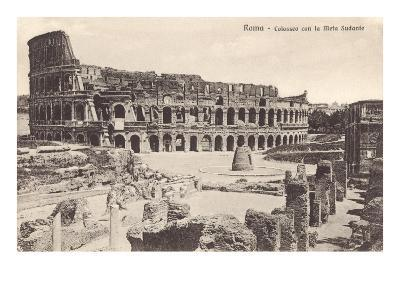 Colosseum in Rome with Meta Sudans, Ruins