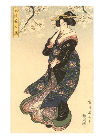 Japanese Woodblock, Woman in Breeze