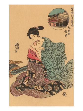 Japanese Woodblock, Woman Dressing