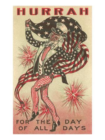 4th of July, Uncle Sam Trotting with Flag