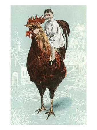 Baby Riding Giant Rooster