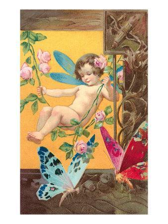 Victorian Cherub Swinging in Roses