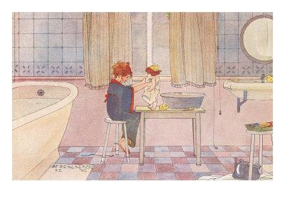 Girl Washing Doll in Bathroom