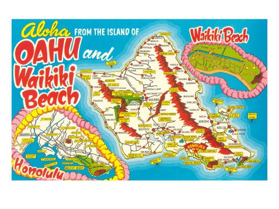 Tourist Map Of Oahu Hawaii Photo At Allposters Com