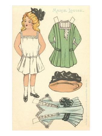 Cut-out Paper Doll, Little Girl, Marie Louise