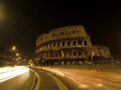 Colosseum Ruins at Night, Rome, Italy