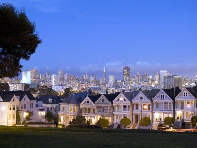 Victorian Houses with Skyline, San Francisco, California, USA