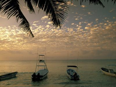 View of boats in the morning, Playa del Carmen, Quintana Roo, Mexico