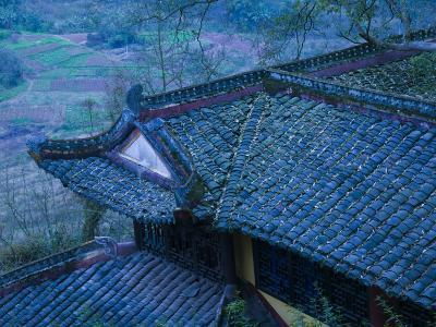 Old Chinese Temple Roof, Fengdu, Chongqing Province, China