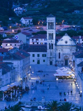 Square and Cathedral of St. Stjepan, Hvar Island, Croatia