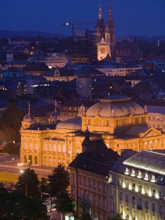 City and Croatian National Theater, Zagreb, Croatia